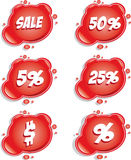 Sale. Set of red vector sale stickers Royalty Free Stock Image