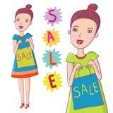 Sale. Cartoon illustration - cute smiling girl Stock Photos