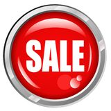 SALE. Eye-catching Red Shiny Sale Button Stock Images