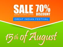 Sale Abstract for Independence Day of INDIA or 15th of August. Nice and beautiful sale abstract or poster for Independence Day of INDIA or 15th of August with Stock Photos