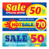 Sale abstract vector banner ser - discount up to 50% - 70%. Sale vector banners. Sale abstract background. Super big sale design. Royalty Free Stock Photos