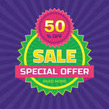 Sale abstract vector banner - special offer 50% off. Sale vector banner. Sale abstract background. Super big sale design layout. Royalty Free Stock Images