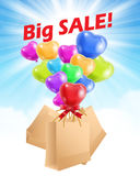 Sale advertisement with baloons and shopping bags Stock Image