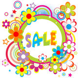 Sale advertisement with circles and flowers Stock Photos