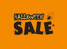 Halloween sale advertisement. Sale advertisement icon in orange and black with spiders on a web. Halloween theme clean design. Time for halloween sale Stock Photos