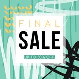 Sale. Advertising banner template design. Hand drawn abstract texture. Vector background stock illustration