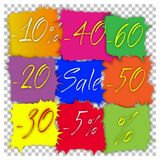 Sale. Advertising discount, sale. Tablets of different colors in the form of squares-blots Stock Photos