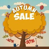 Sale advertising poster with autumn tree. Sale advertising poster on autumn tree background with discounts Stock Images
