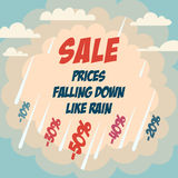 Sale advertising poster. With cloudy sky background. Prices falling down like rain Stock Images