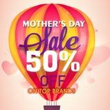 Sale affisch, baner eller reklamblad för mors dag Arkivfoto