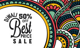 Sale affisch eller baner för lycklig Diwali beröm Arkivfoto