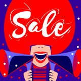 Sale affisch, försäljningsbaner med den ljusa färgrika högtalareflickan vektor illustrationer