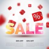 Sale affisch också vektor för coreldrawillustration Designmall för ferieförsäljningshändelse kuber 3d med procent Festligt origin Royaltyfria Bilder