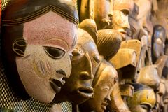 african masks at the market royalty free stock photos