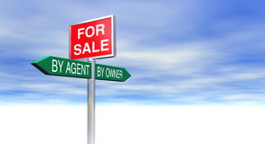 For Sale By Agent or By Owner Sign Concept. 3D Rendered For Sale By Agent or By Owner Sign Concept with lots of space for text and images of your choice stock illustration