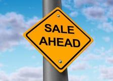Sale ahead street sign customers shopping symbol