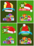 Sale 50 for All Christmas Goods Promo Posters. Sale 50 for all Christmas goods promotional posters with decorated bright gift boxes and festive red Santa hat Stock Images