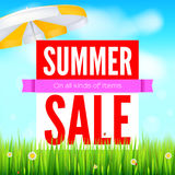Sale an all kinds of items. Summer hot discounts. Selling ad banner. Sun summer background with sun umbrella green field Stock Photography