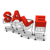 Sale Alphabet Was Carried By 4 Shopping Carts Royalty Free Stock Images