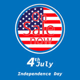 Sale for American Independence Day 4 th july. Discount poster design. National flag. Vector illustration.Patriotic symbol holiday Royalty Free Stock Photo