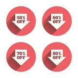 Sale arrow tag icons. Discount off symbols. Sale arrow tag icons. Discount special offer symbols. 50%, 60%, 70% and 80% percent off signs. Pink circles flat Stock Photography