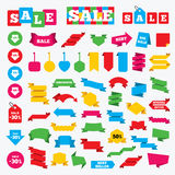 Sale arrow tag icons. Discount symbols. Web stickers, banners and labels. Sale arrow tag icons. Discount special offer symbols. 10%, 20%, 30% and 40% percent Stock Photo