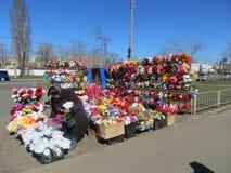 Sale of artificial flowers, street sale. Street in Kiev Royalty Free Stock Photography