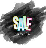 Sale artistic banner template design on black sketch background. Special offer, colourful letters for discount stock illustration