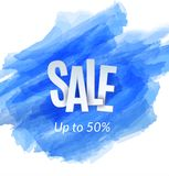 Sale artistic banner template design on blue sketch background. Special offer, colourful letters for discount royalty free illustration