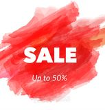 Sale artistic banner template design on red sketch background. Special offer, colourful letters for discount stock illustration