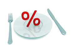 Sale as food: Percentage sign with cutlery, 3d illustration. On white bg Stock Images
