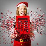 Sale assistant with christmas discount Royalty Free Stock Images