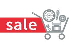 Sale in the auto parts store Stock Photo