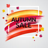 Sale Autumn Banner design with frame and leaves Royalty Free Stock Images
