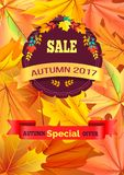 Sale Autumn 2017 Special Offer Promo Poster Leaves. Sale autumn 2017 special offer promo poster on background of leaves, logo design in form of stamp with Royalty Free Stock Images