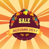 Sale Autumn 2017 Special Offer Promo Poster Leaves. Sale autumn 2017 special offer promo poster on background of lorange rays, logo design in form of stamp with Royalty Free Stock Image