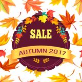 Sale Autumn 2017 Special Offer Promo Poster Leaves. Sale autumn 2017 special offer promo poster logo design in form of stamp with colorful foliage vector Stock Photo