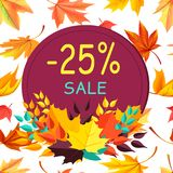 Sale Autumn 25 Special Offer Promo Poster Leaves. Sale - 25 special offer promo poster logo design in form of stamp with colorful foliage in bottom vector Stock Images