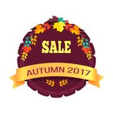 Sale Autumn 2017 Sticker on Vector Illustration. Sale autumn 2017 sticker representing circle and ribbon with text, collection of various leaves above it on Stock Photo