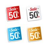 Sale 50 av etiketter Royaltyfri Foto