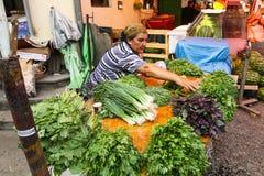 Sale av jordbruksprodukter på central matmarknad royaltyfri bild