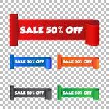 Sale 50% av klistermärke Etikettvektorillustration på baksida Arkivbilder