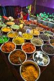Sale av kryddor i marknaderna av Indien Arkivfoto