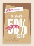 Sale 50% av reklambladet, baner eller mall Arkivbild