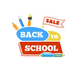 Sale Back to school emblem with accessories. Vector illustration. Royalty Free Stock Image