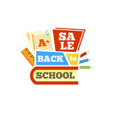 Sale Back to school emblem with book and accessories. Bright  illustration. Royalty Free Stock Photography