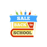 Sale Back to school emblem with book and accessories. Bright  illustration. Stock Photos