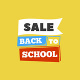 Sale Back to school emblem with book. Bright  illustration. Royalty Free Stock Image
