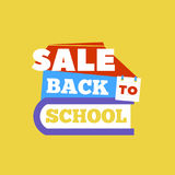 Sale Back to school emblem with book. Bright  illustration. Royalty Free Stock Images