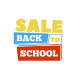 Sale Back to school emblem. Bright  illustration. Royalty Free Stock Photo